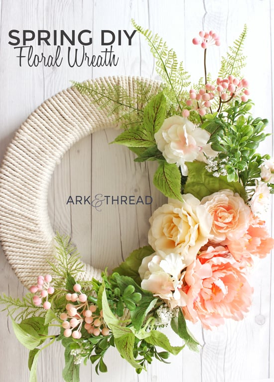 Yarn wrapped spring floral wreath