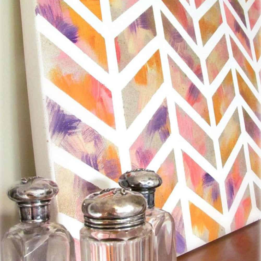 Chevron watercolor painting diy