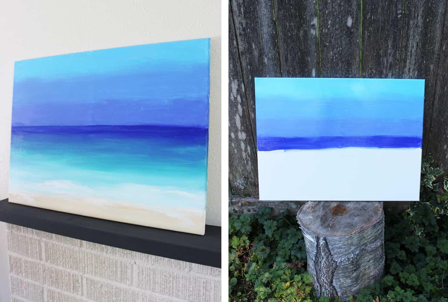 Diy canvas paintings diy ocean painting