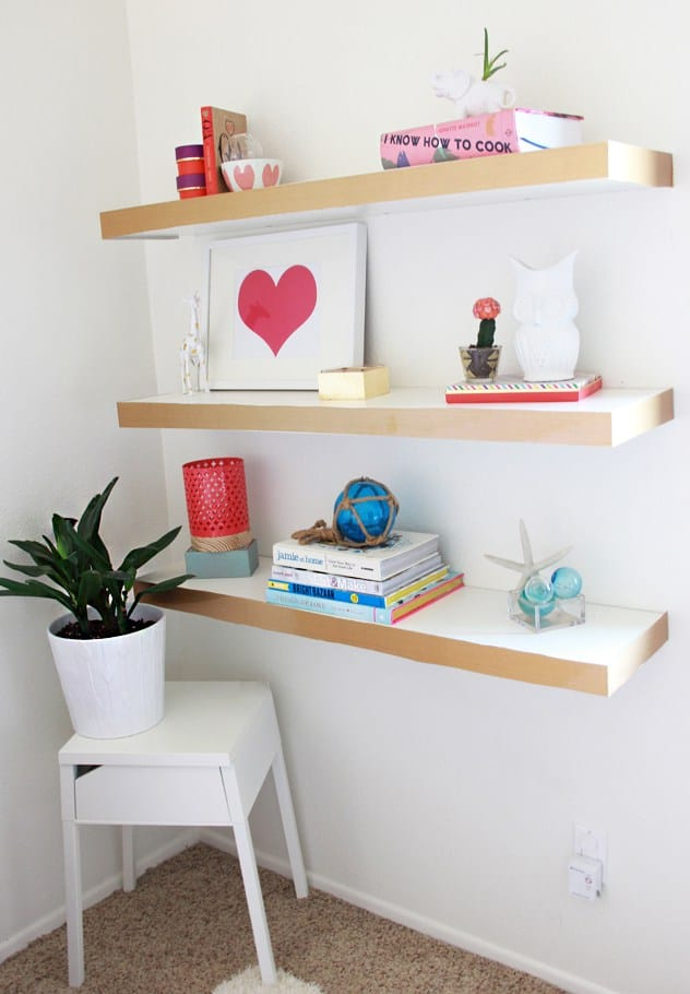 Diy colorblock floating shelves