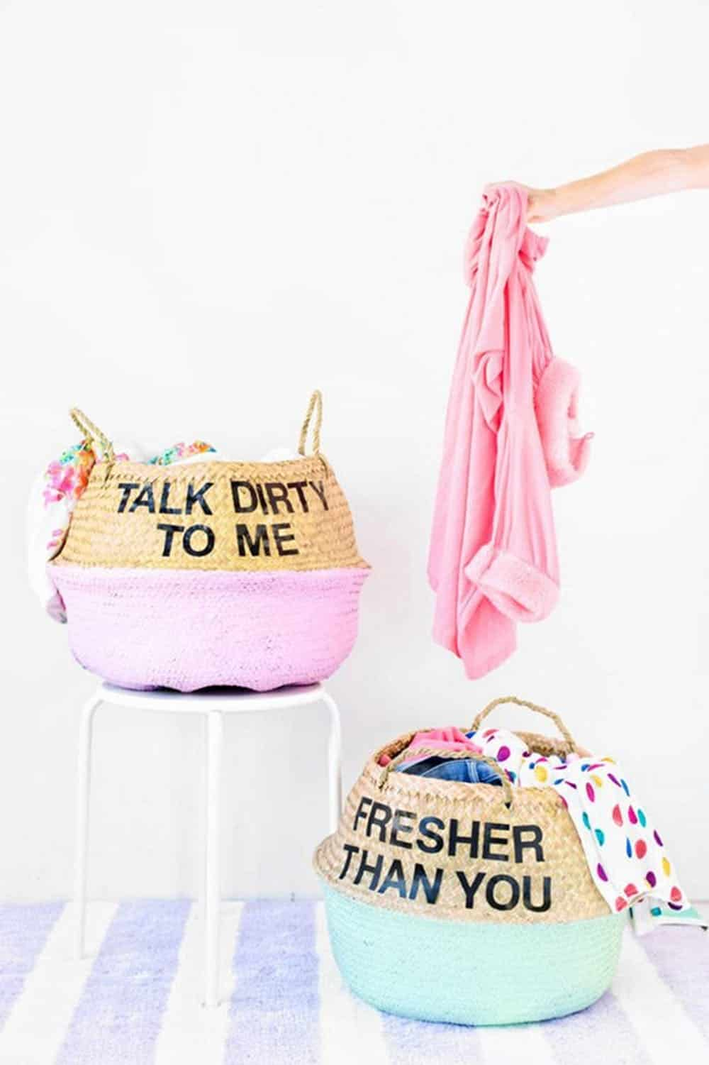 Diy couple laundry baskets