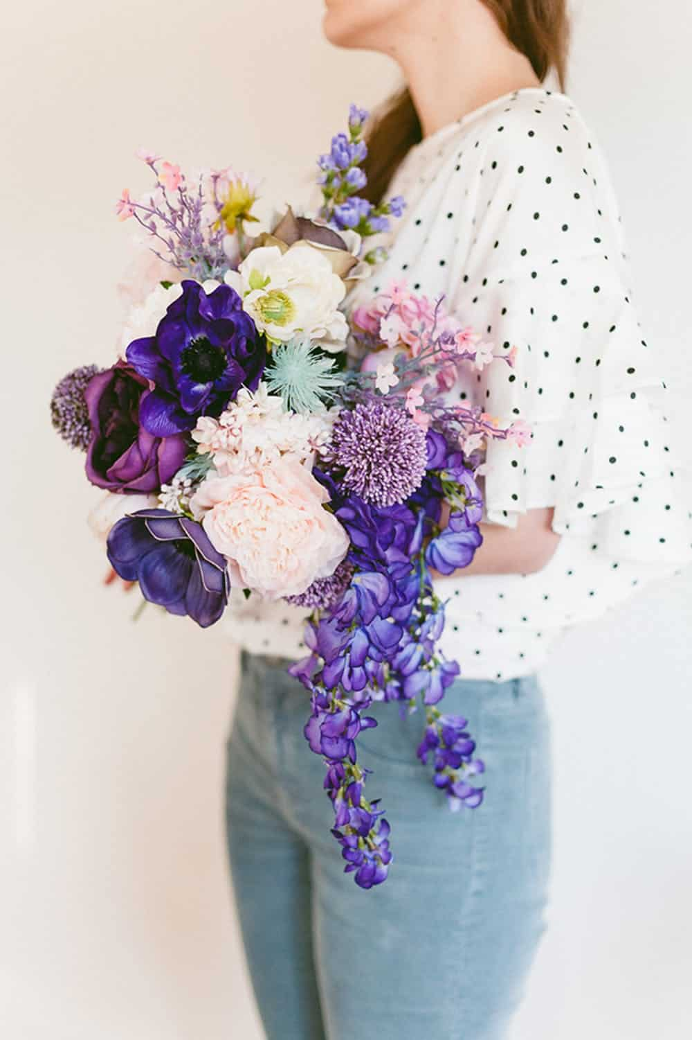 Diy purple violet wedding bouquet