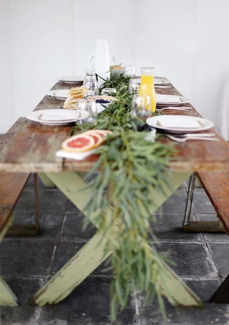 Diy simple table greenery