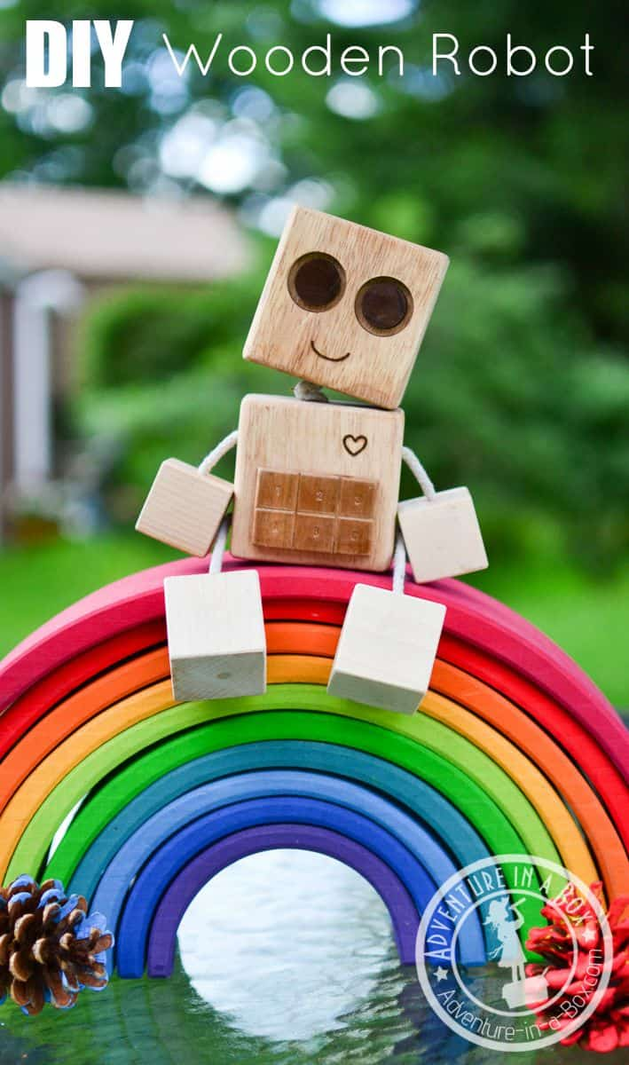 Diy wooden robot from wooden blocks header