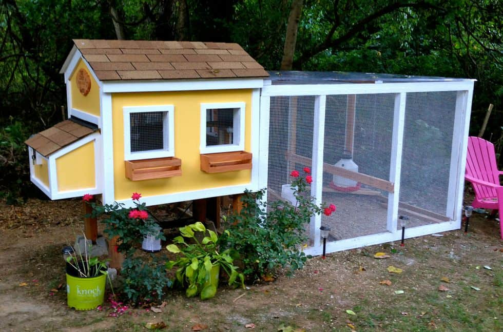 Diy yellow house chicken coop