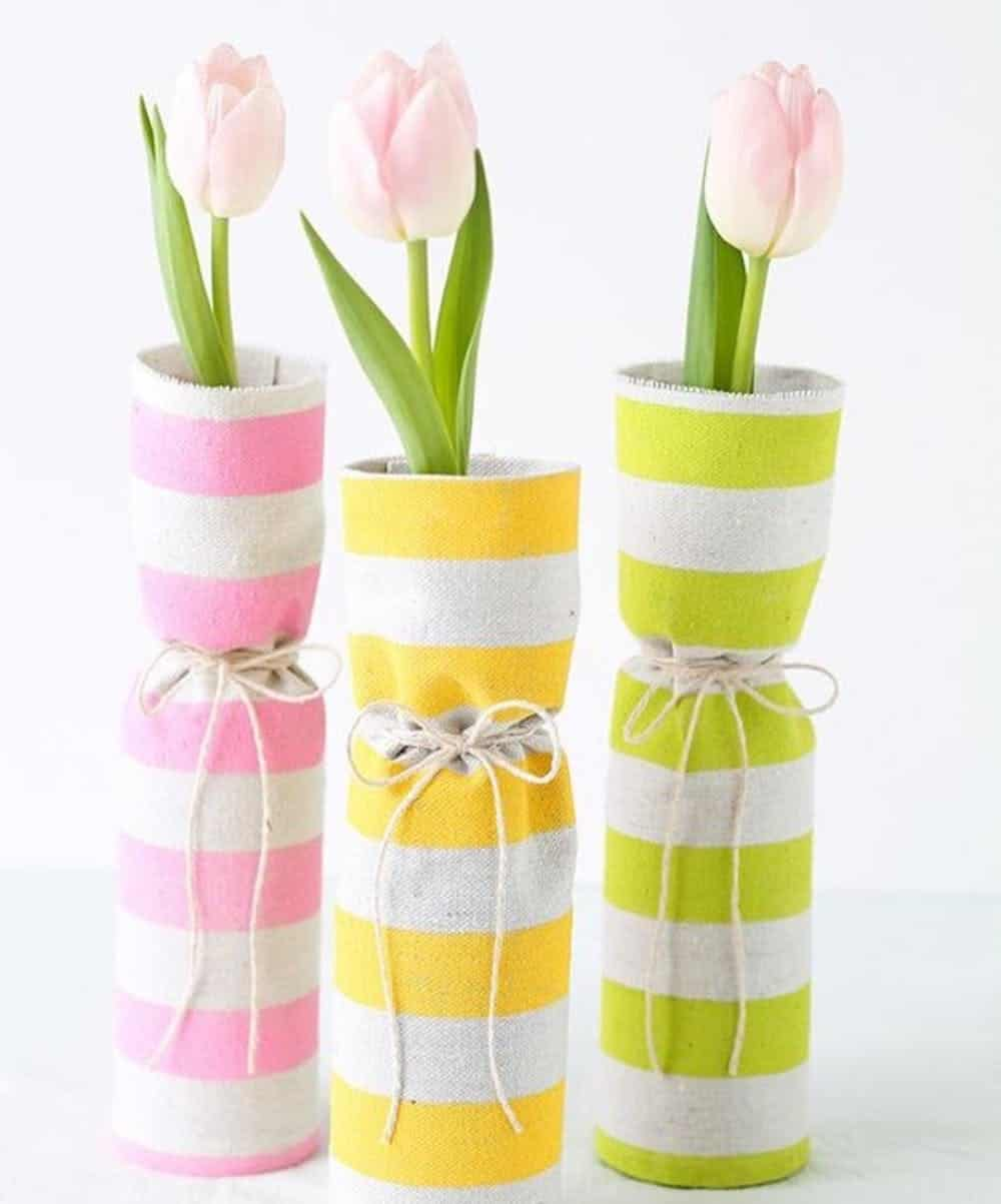 Fabric covered spring vases diy