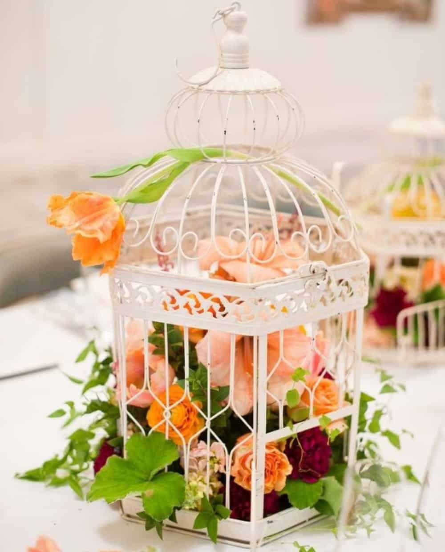 Floral birdcage centerpiece diy