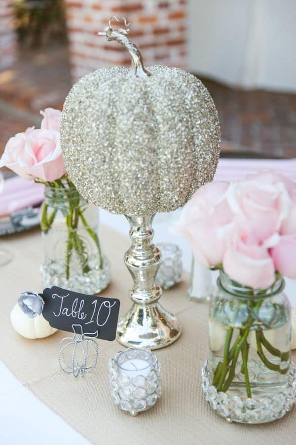 Glitter pumpkin wedding centerpiece diy