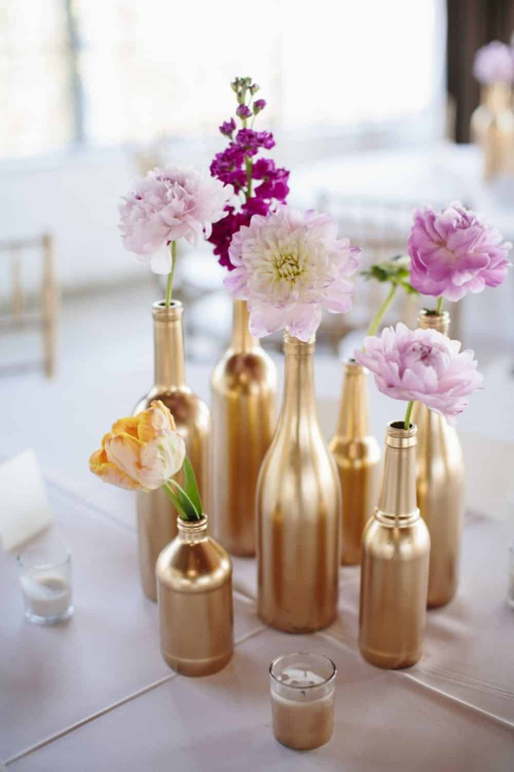 Gold dipped bottles diy