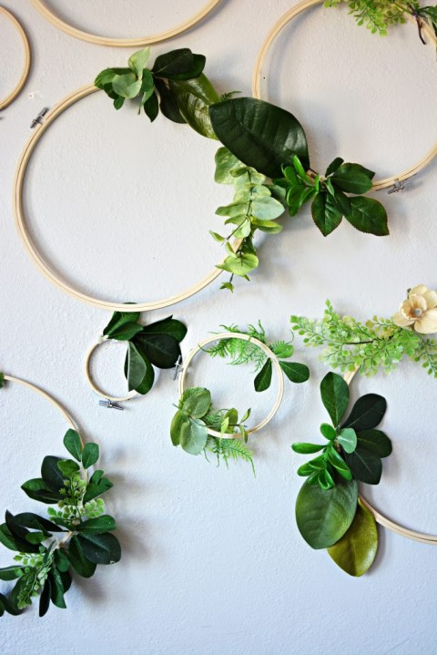 Greenery hoops diy