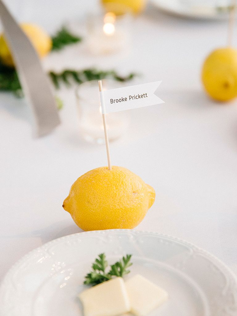 Lemon place cards diy table decor