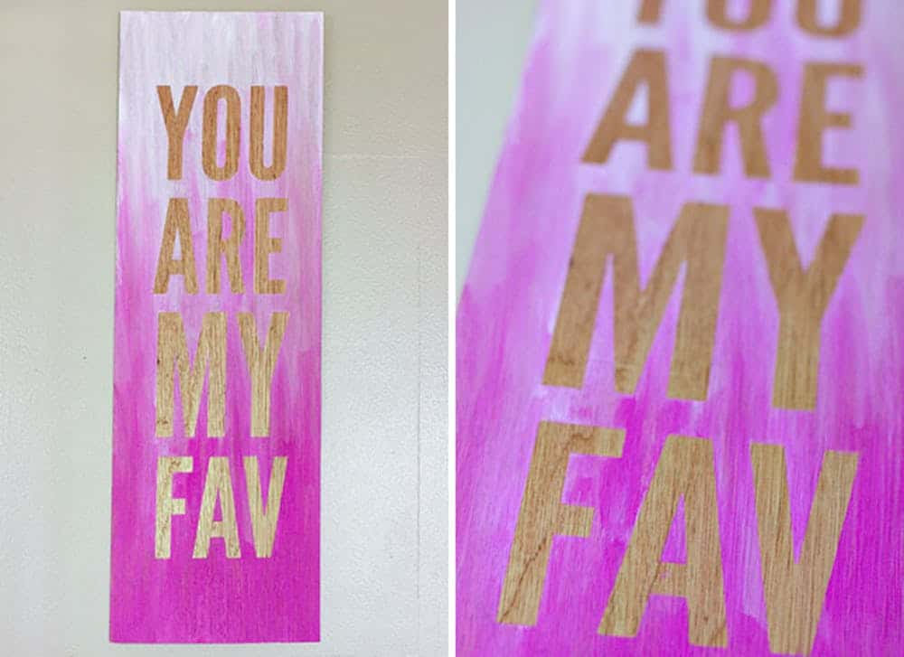 Ombre canvas painting with quote