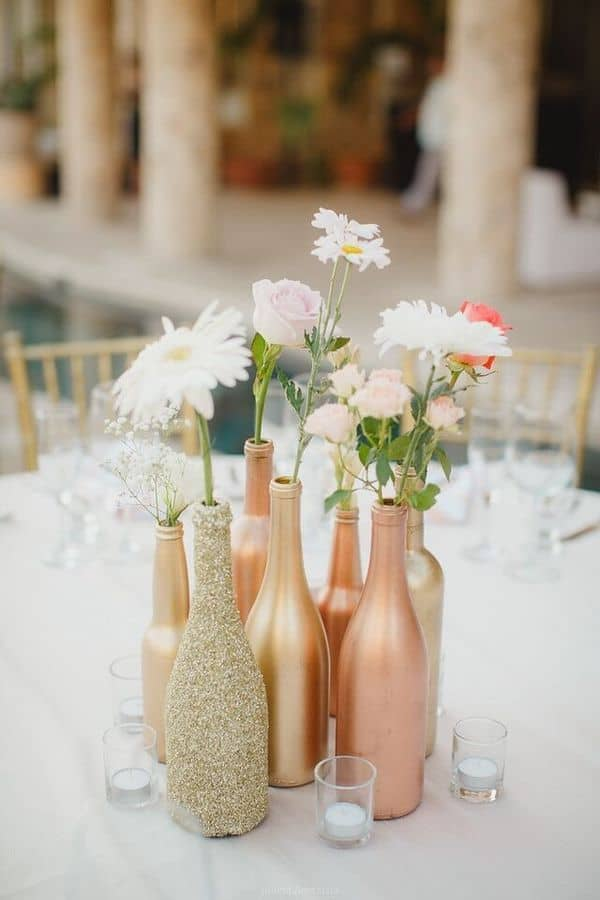 Rose gold wine bottle centerpiece diy