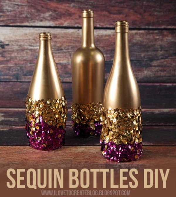 Sequin bottles diy