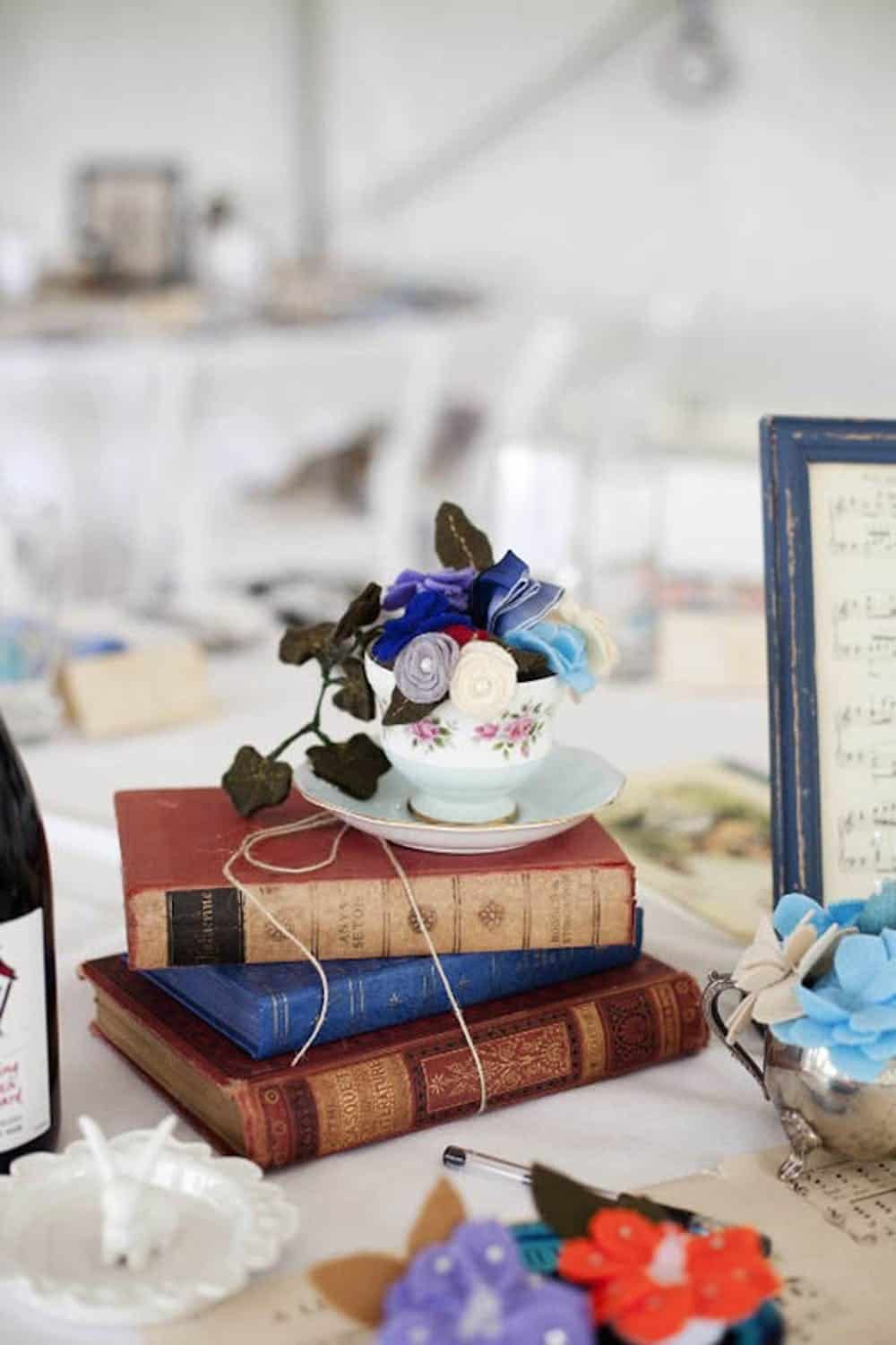 Teacup and books diy centerpiece