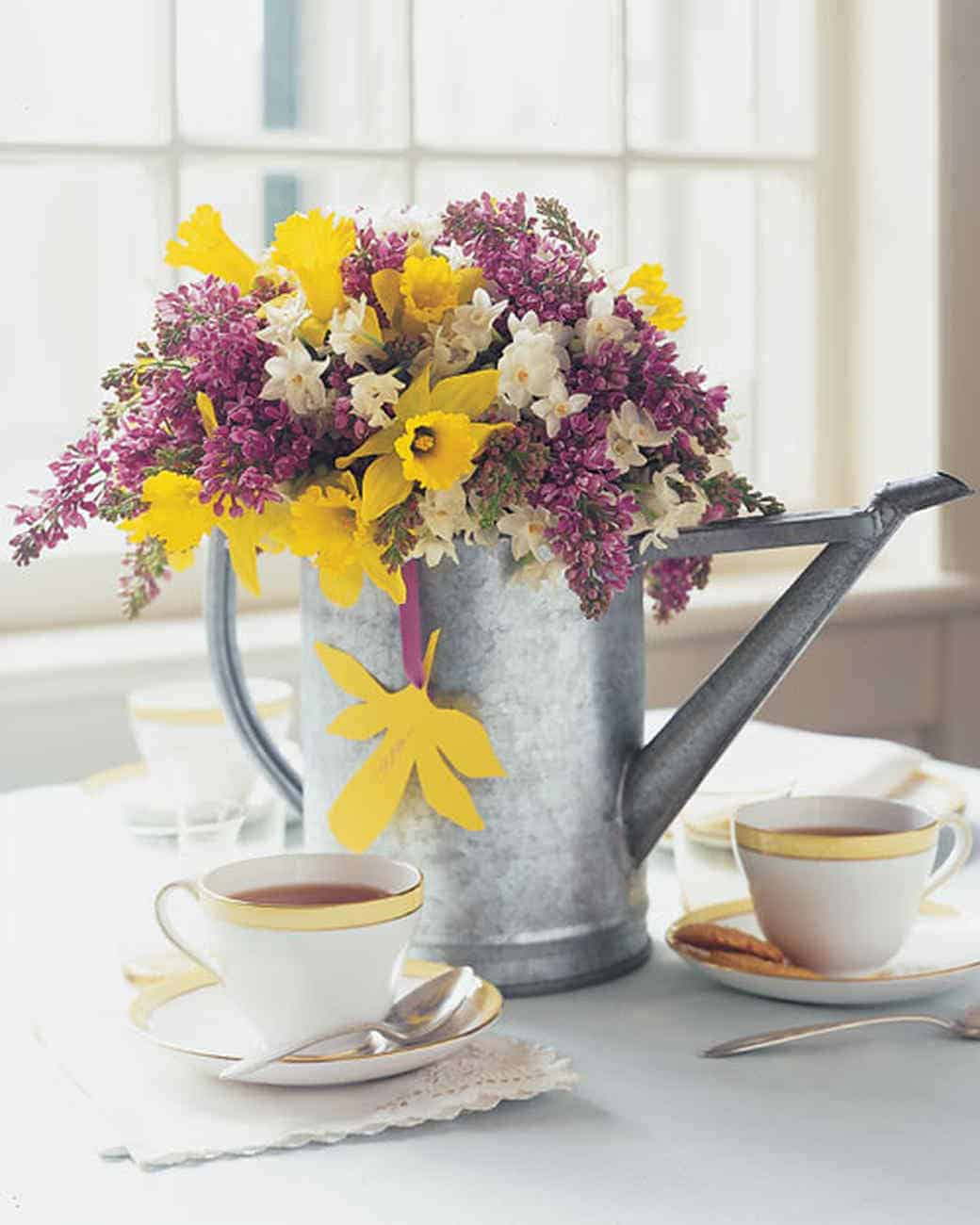 Watering can spring flower centerpiece diy