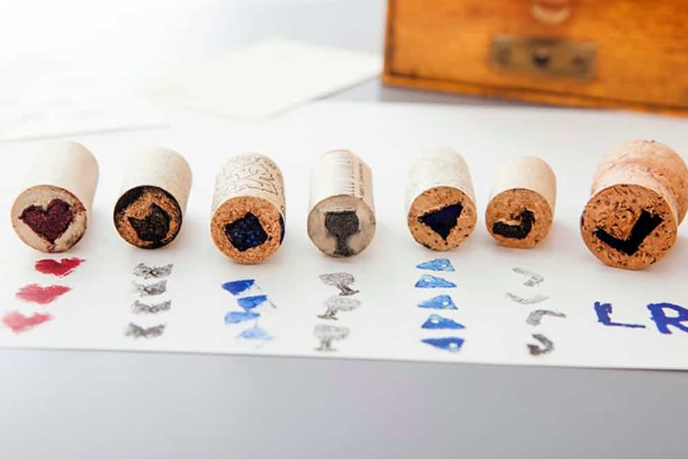 Wine work stamps diy