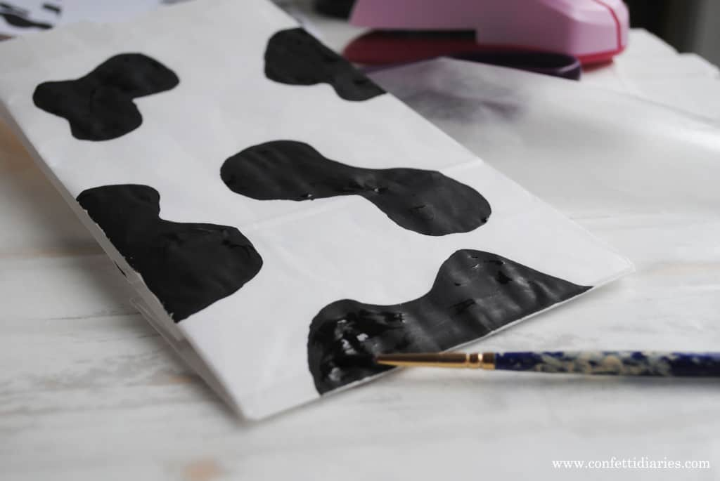Barn yard cow print party bags