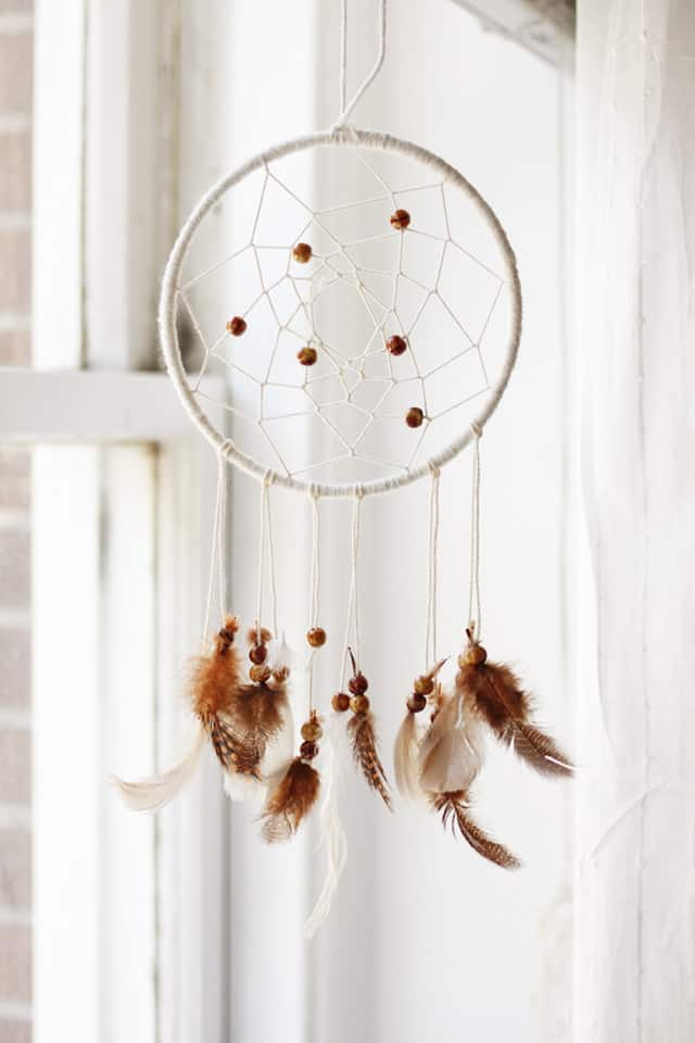 Bead and feather dream catcher