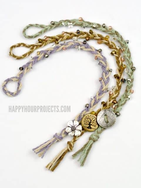 Boho chic inspired braided hemp bracelets