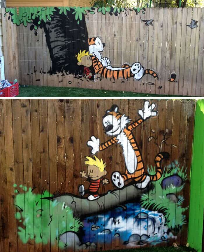 Calvin and hobbes inspired fence art