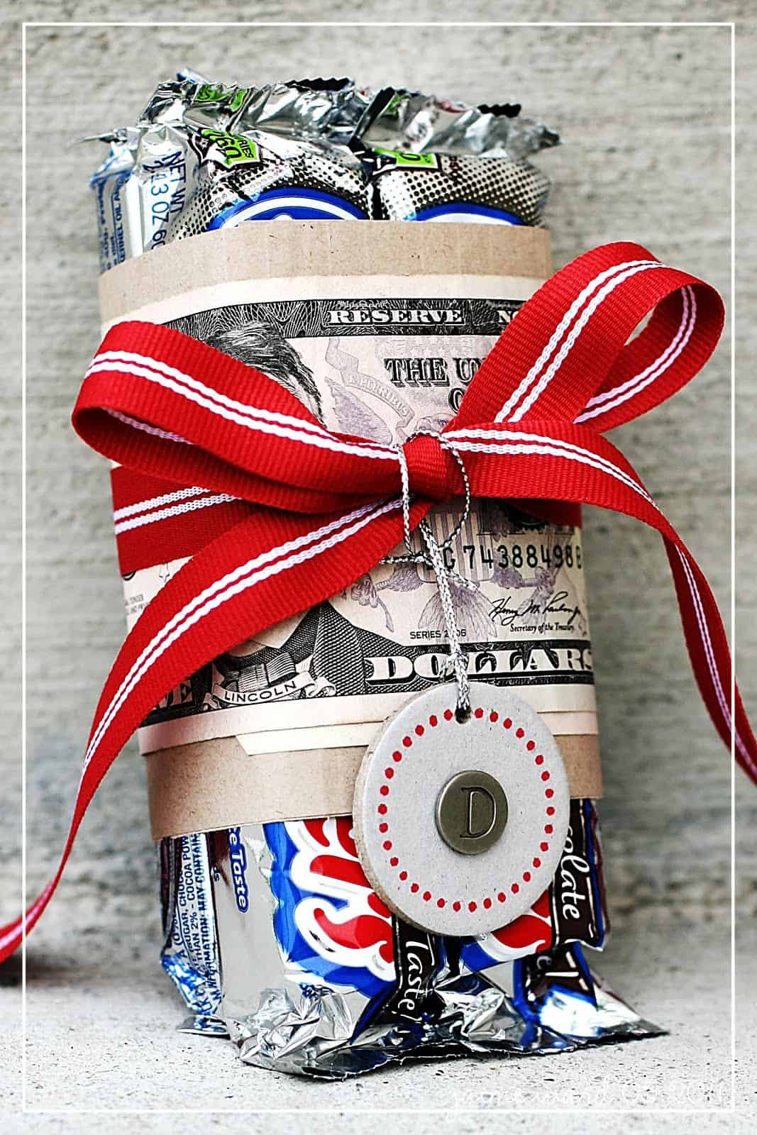 Cash wrapped candy bar gift