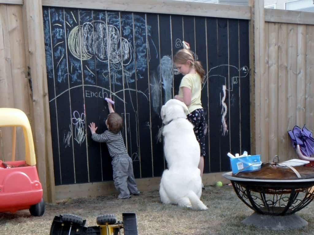 Chalkboard painted art fence