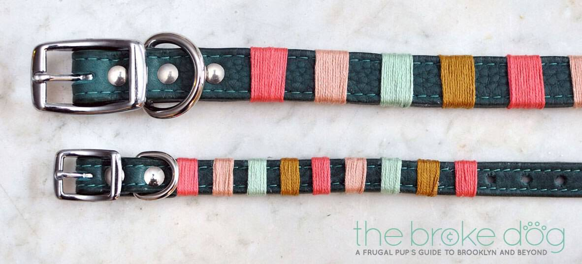 Colour blocked embroidery wrapped dog collars