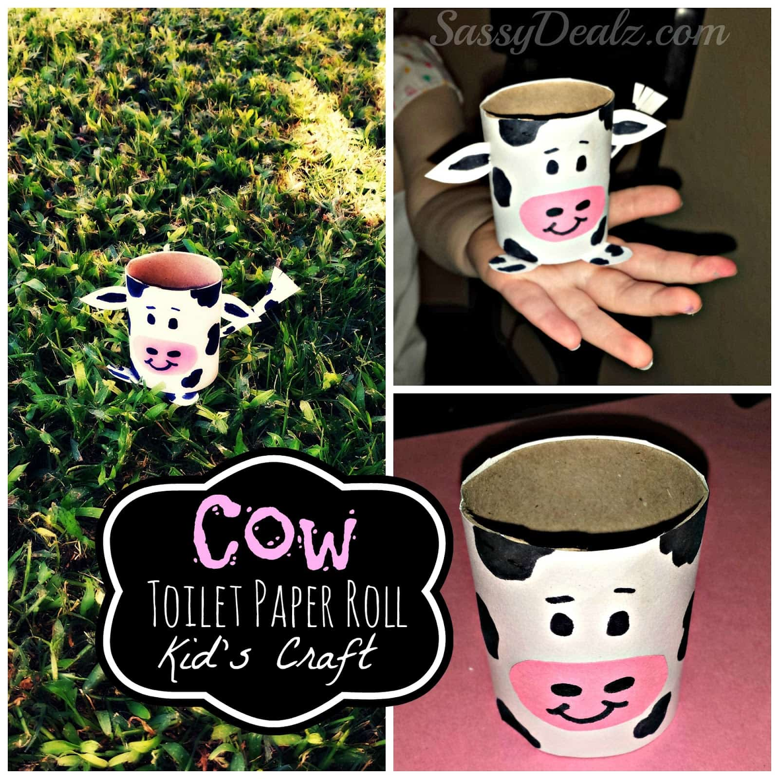Cow toilet paper roll kids' craft