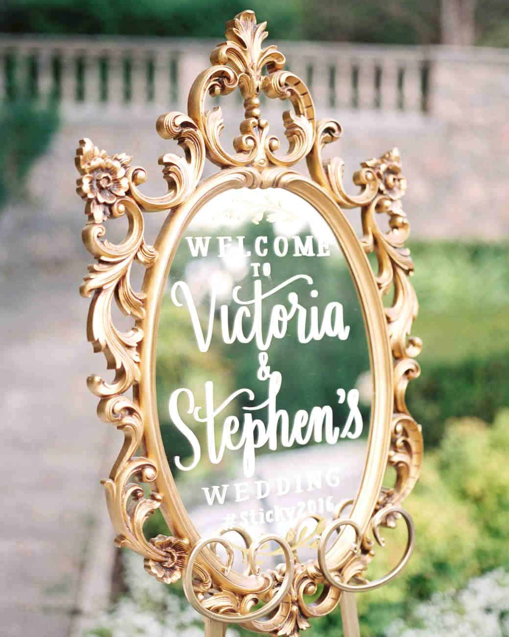 Diy calligraphy wedding mirror decor