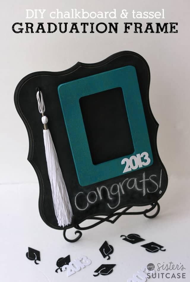 Diy chalkboard and grad tassel frame gift