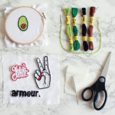 Diy embroidered patches with a cross stitching hoop