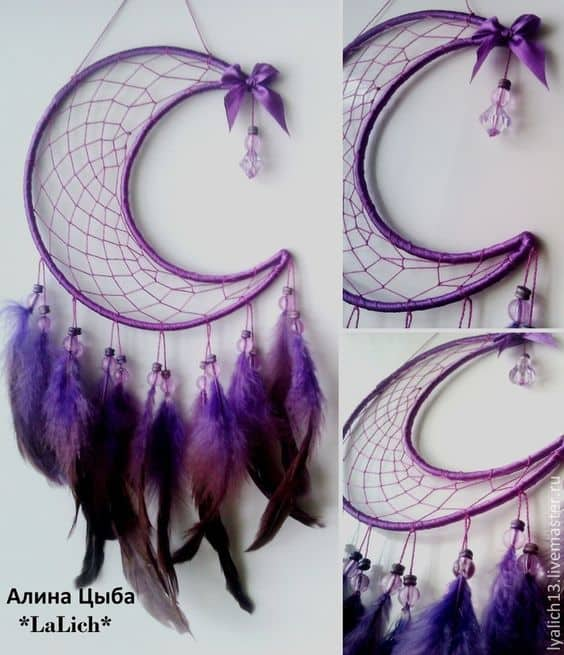 Diy feathered half moon dream catcher