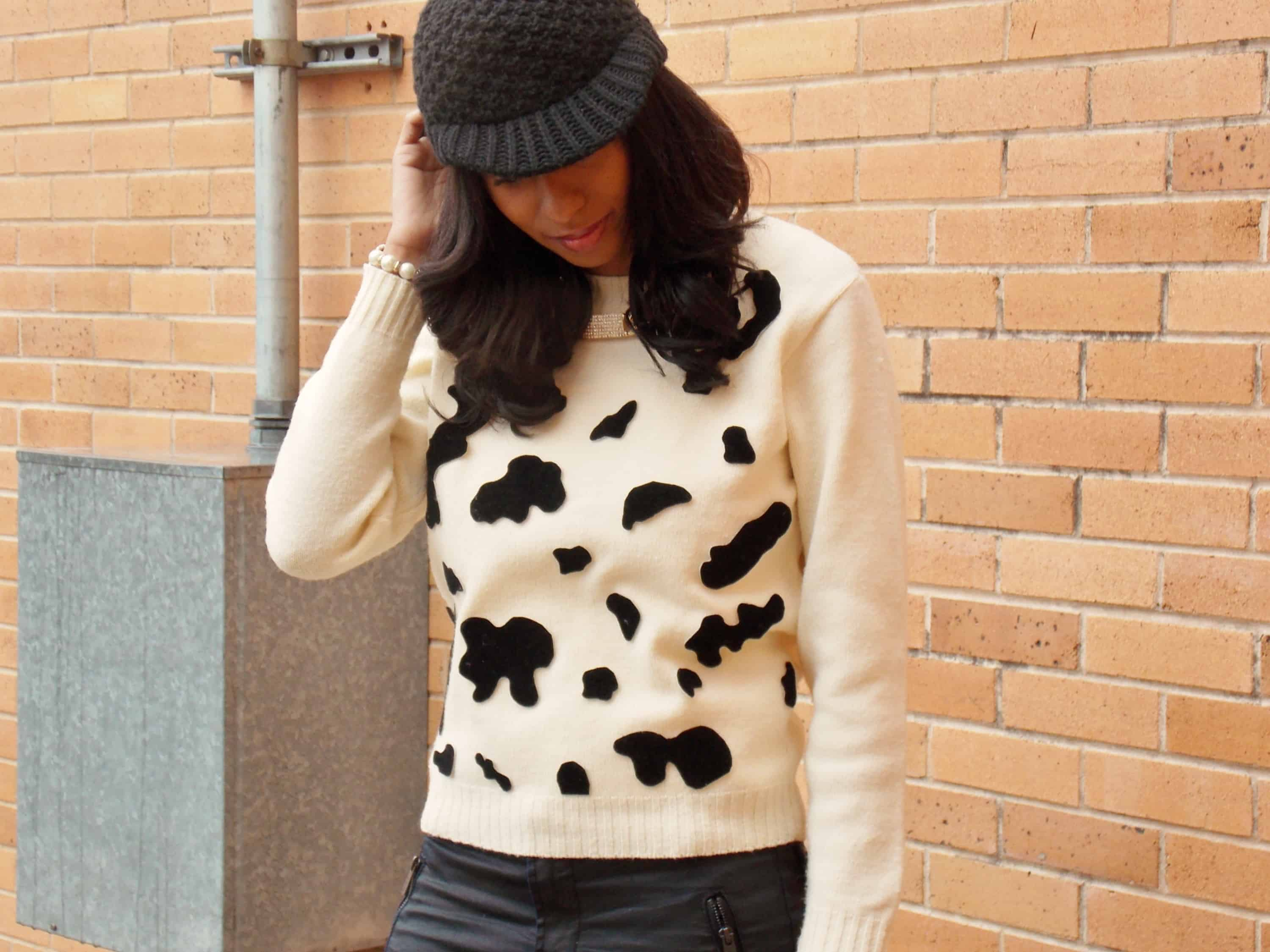 Diy graphic cowprint sweater
