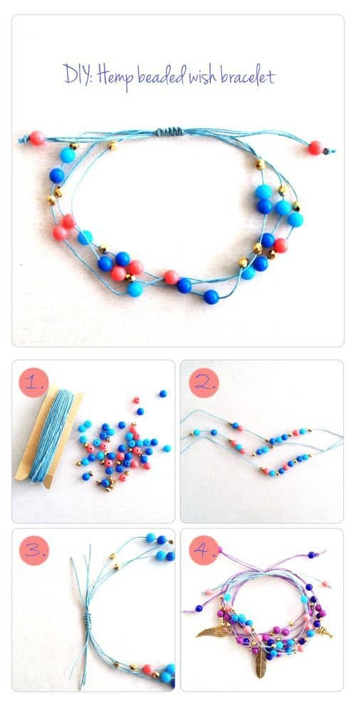simple bracelet Wish bracelet small bracelet hemp bracelet bead bracelet