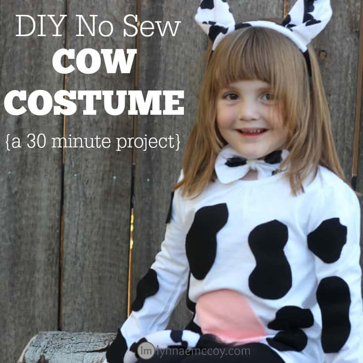 Diy no sew cow costume