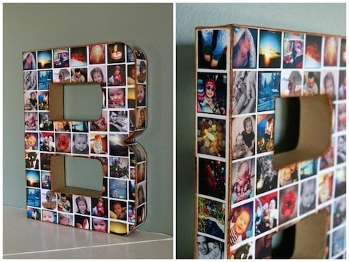 Diy photo collage wall intial