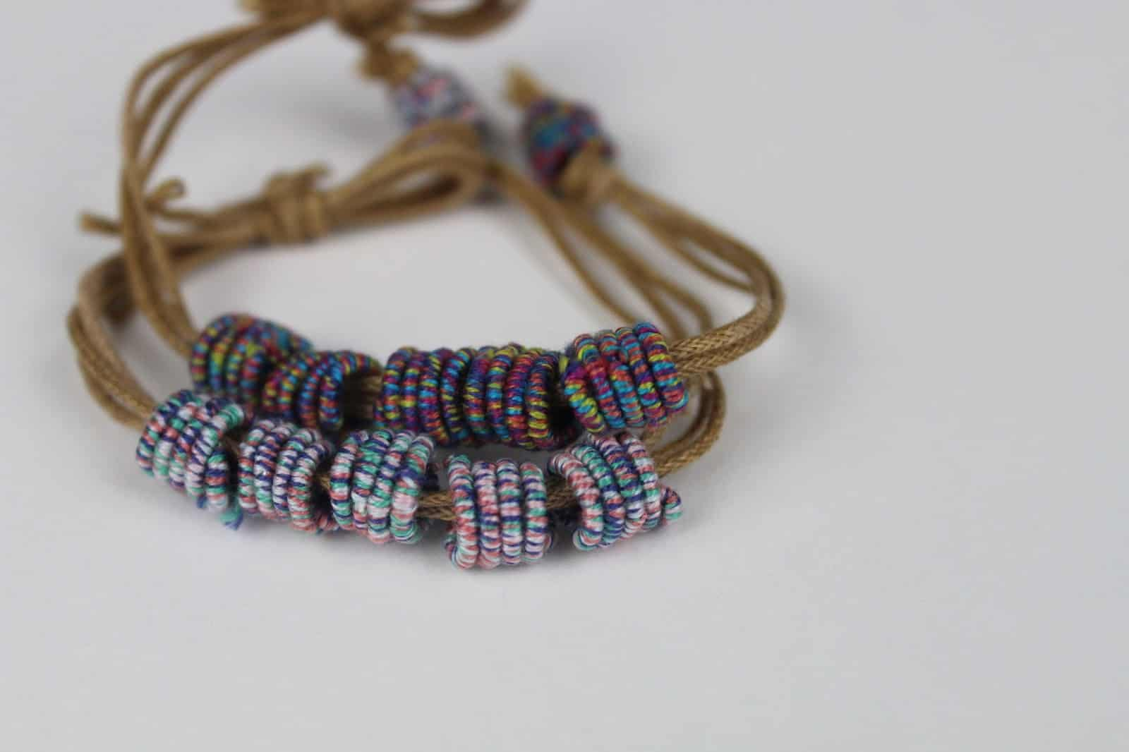 Diy wrapped embroidery thread beads