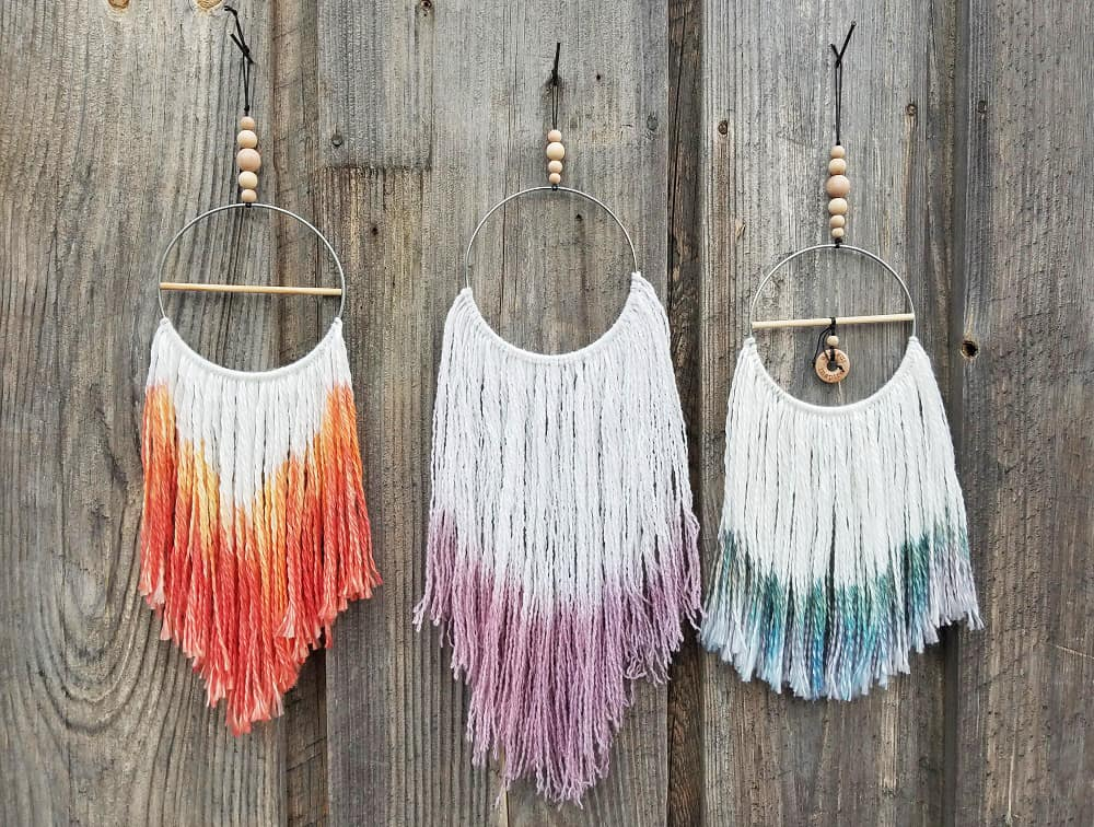 Dip dyed yarn and wooden bead dream catchers