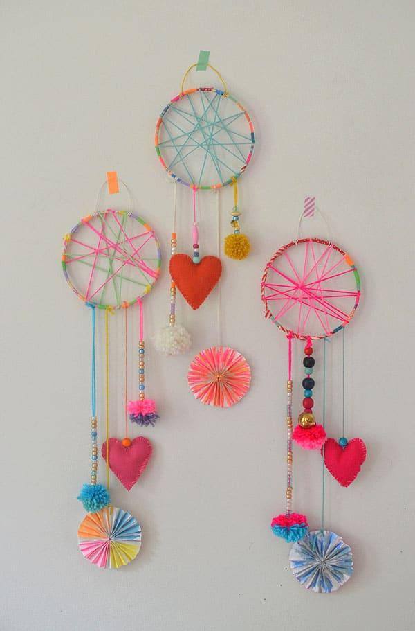 Dream catchers with felt heart hangers
