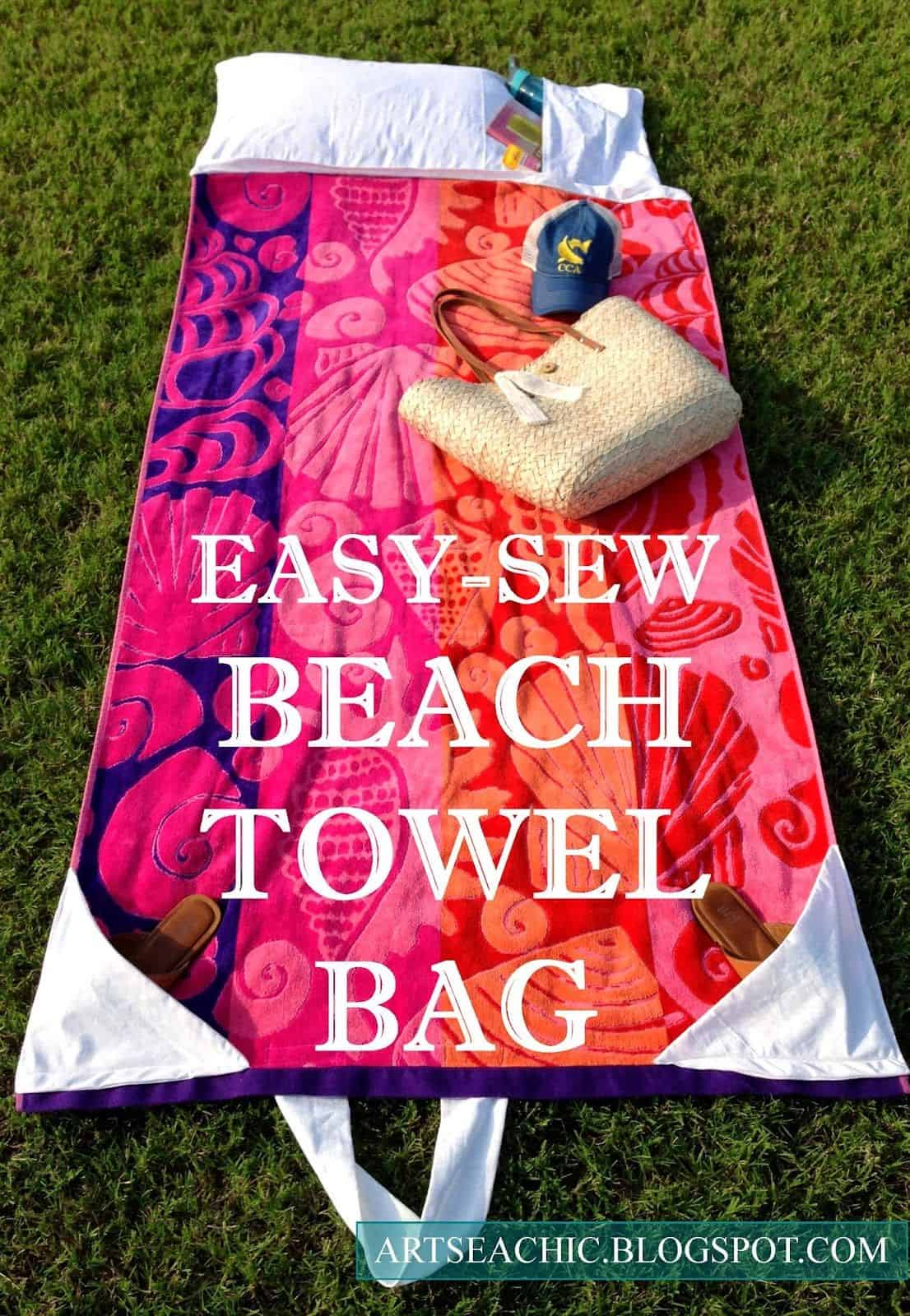 Easy sew beach towel lounger bag