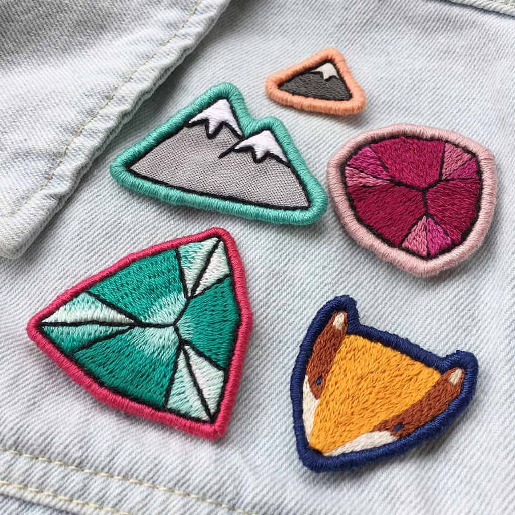 Embroidered gemstone patches