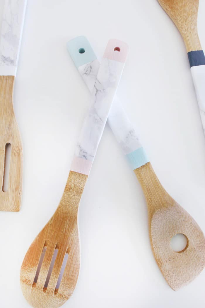 Faux marble kitchen utensils