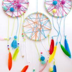Feather, pom pom, and tassel dream catchers
