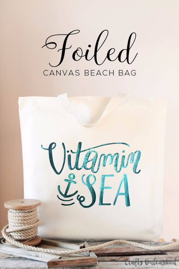 Foiled canvas beach bag with calligraphy quote