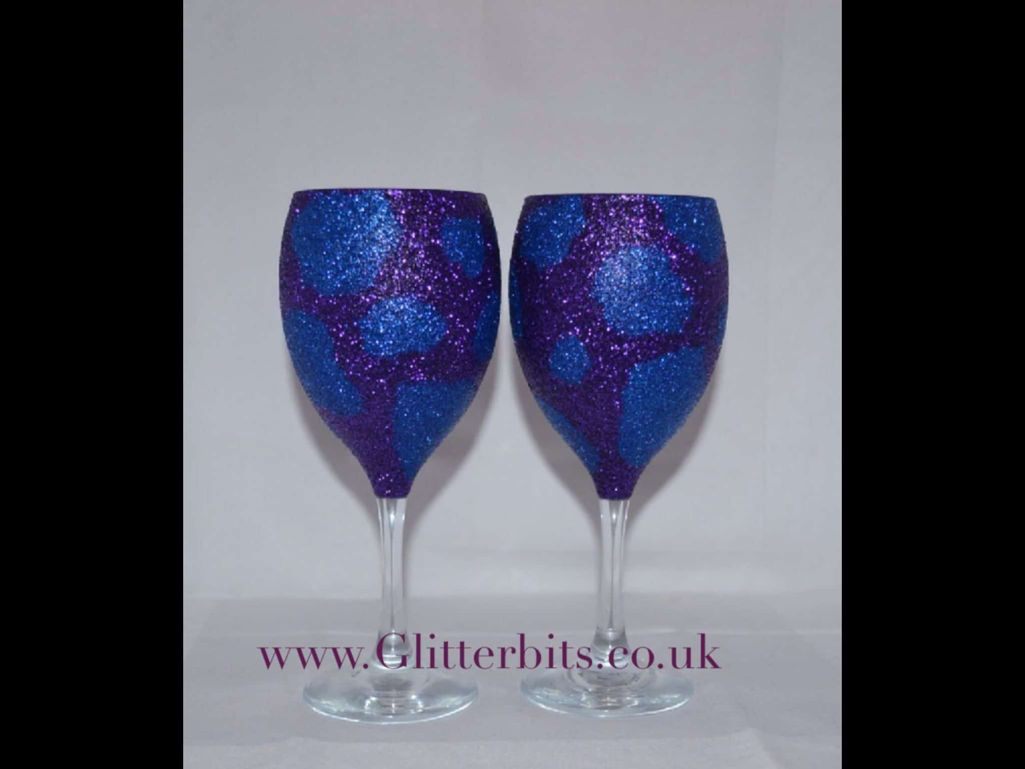 Glitter cow print wine glasses