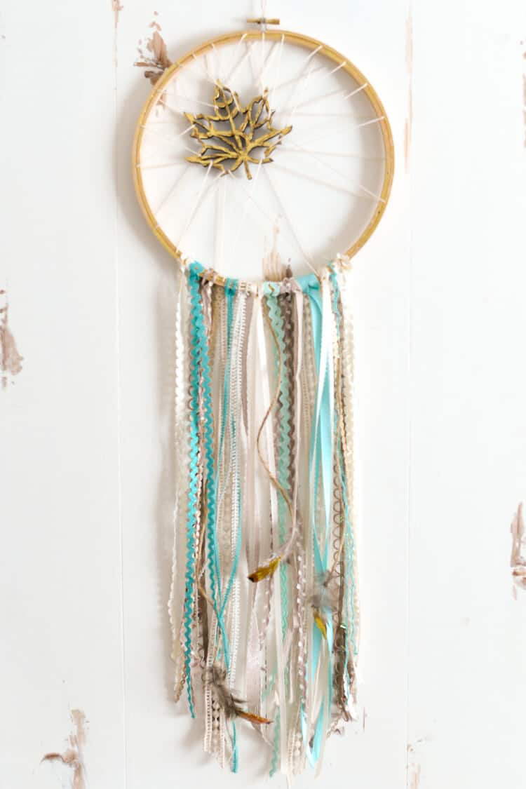 Golden leaf trinket and ribbons dream catcher