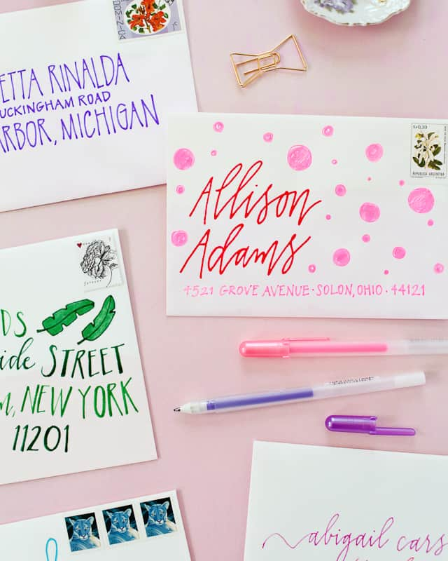 Hand drawn graphic calligraphy envelopes