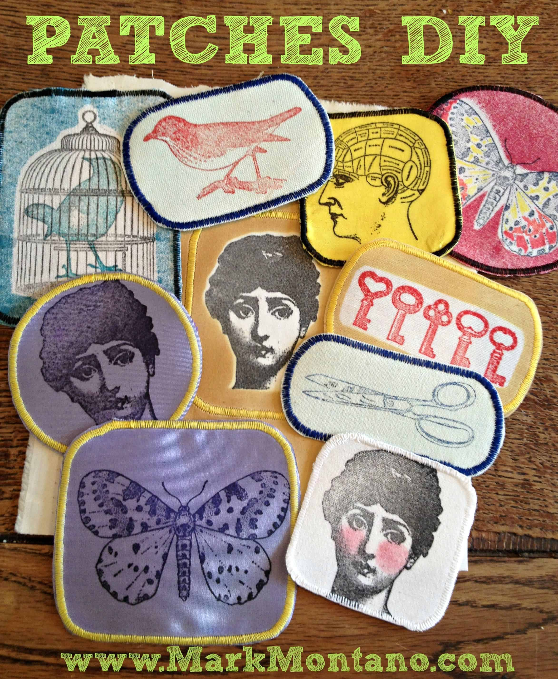 Hand stamped fabric patches