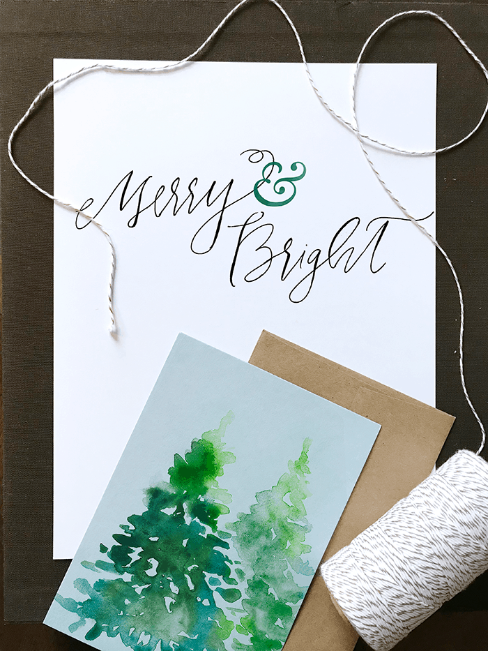 Hand written calligraphy christmas cards